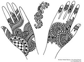 Free henna designs: tradtitional Indian henna designs.