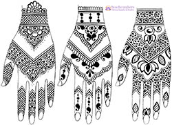 df426f629 March 2019: Note that all three henna hands use the exact same layout! The  details and negative space are used differently to create vastly different  looks.