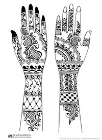 Free henna designs: Modern light bridal henna.