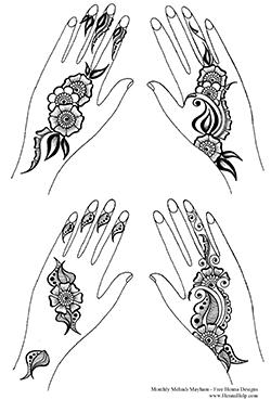 Free Henna Designs: Floral Sangeet Strip Henna Designs