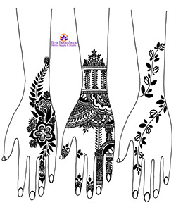 Free harvest henna design on forearms