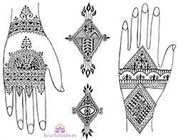 Free henna designs: Valentines Day henna hearts.