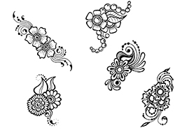 Free henna designs: small flower henna designs.