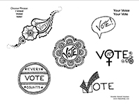 Free henna designs: Get out the VOTE henna.