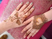 Group henna tattoos for friends. Dragonfly and heart glove henna