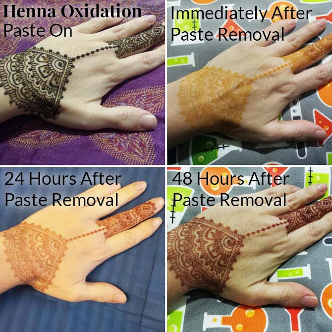 Henna oxidation, how a mehndi stain develops